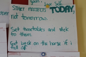 Start projects TODAY, not tomorrow. Set timetables and stick to them. Get back on the horse if I fall off.